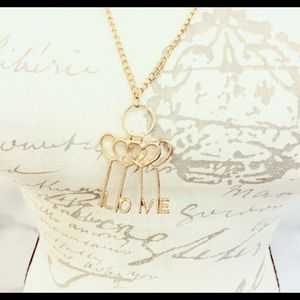 Love Gold Tone Necklace Key